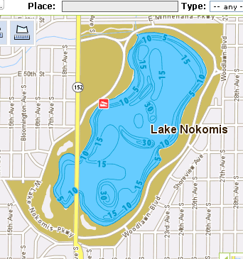 Lake Map Lake Nokomis, Minneapolis Minnesota